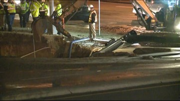 Indian Trail intersection reopens after sinkhole swallows light pole