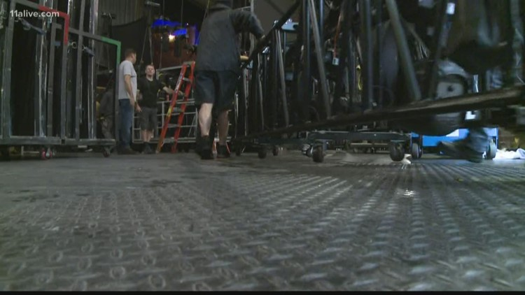Stage crews install set at Fox Theatre for 'Wicked'
