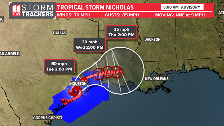 Tropical Storm Nicholas continues bringing heavy rain, flood threat after making landfall as a hurricane last night