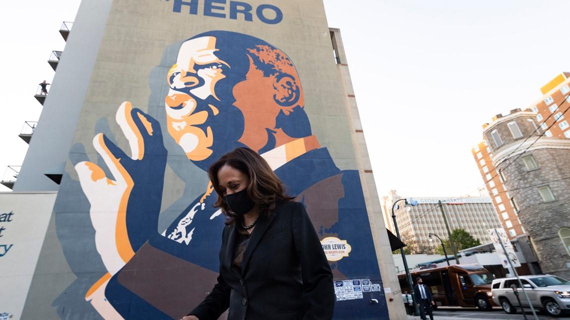 Kamala Harris visits mural of John Lewis during campaign stop to Atlanta
