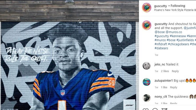 Rising NFL star Justin Fields honored with mural in downtown Kennesaw