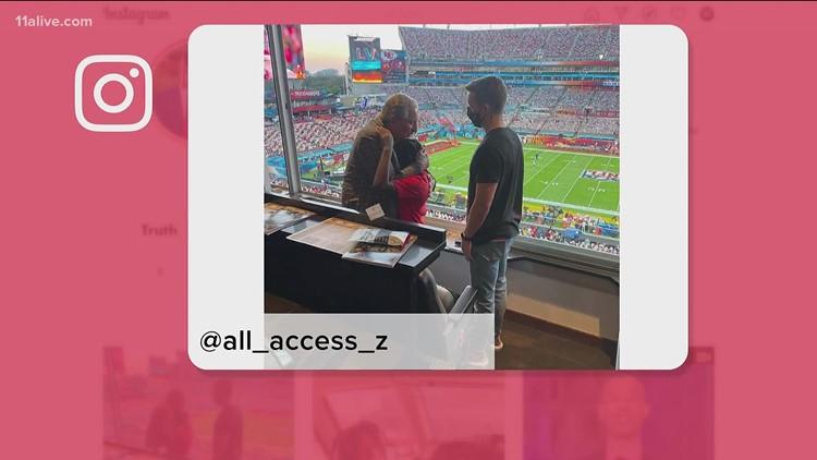 Athens fire survivor attends Super Bowl LV, shares hug with Falcons owner Arthur Blank