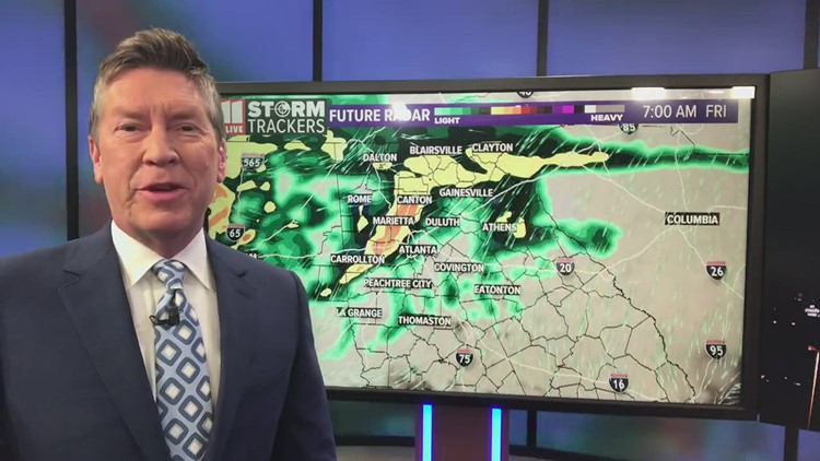 Rainy and cooler Friday