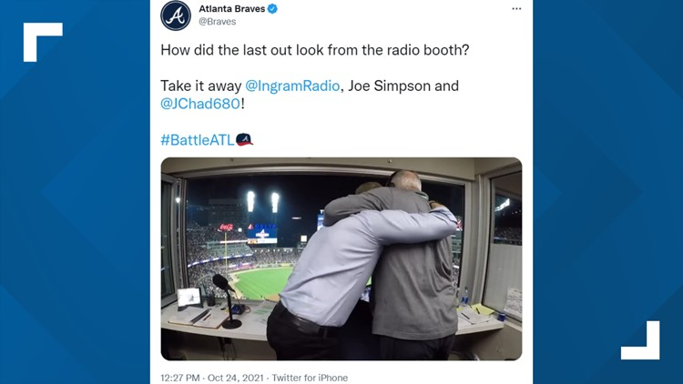 Radio booth erupts with excitement as Braves win NLCS