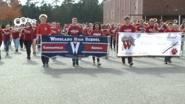 Woodland High School marching band puts in one final practice for Macy's Thanksgiving Day Parade