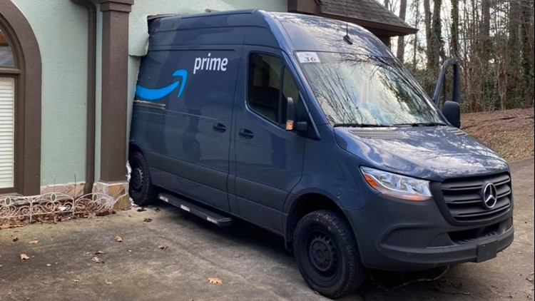 'Package has arrived': Police say no one injured after runaway Amazon van rolls into house