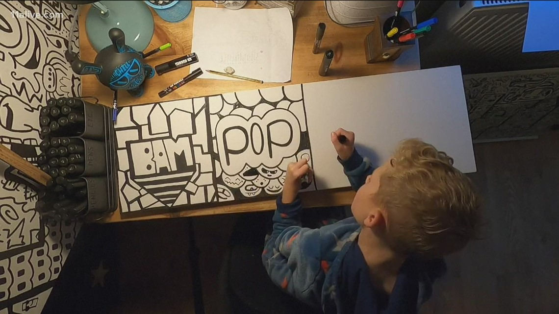 Boy's doodling becomes children's book