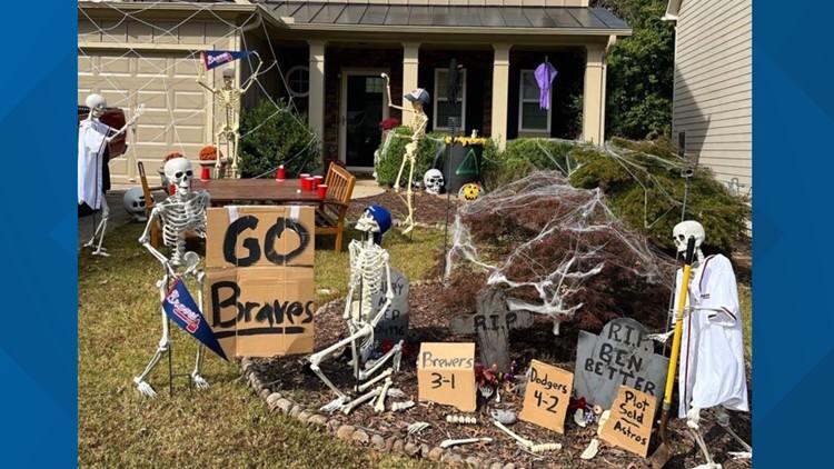 Man creates 'Braves yard' ahead of Halloween and World Series