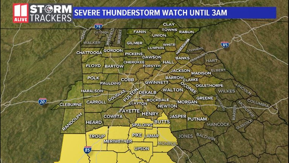 UPDATES: New line of storms moving in; Severe Thunderstorm Watch remains until 3 a.m.