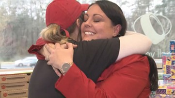 Family, Papa John's surprise worker with new tires, gifts