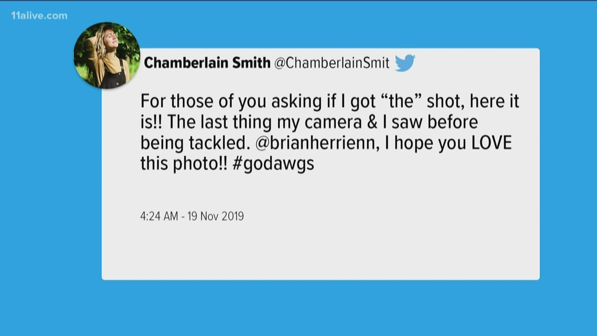 Chamberlain Smith Shares Photograph Of Georgia S Brian Herrien 11alive Com Read the latest news and press releases from chamberlain. the last thing my camera i saw before being tackled uga photo intern shares the shot
