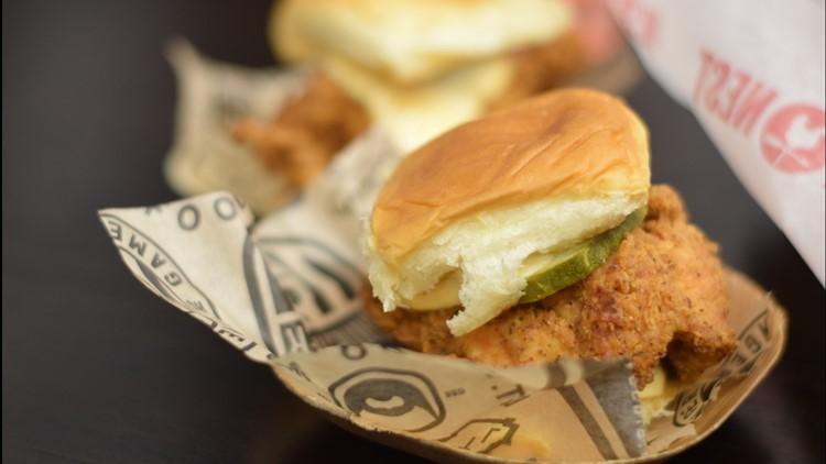 The cos chicken sandwich closeup Super Bowl 53