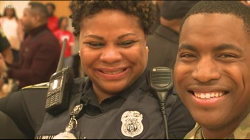Soldier reunited with officer mother after 2 years during heartwarming school pep rally