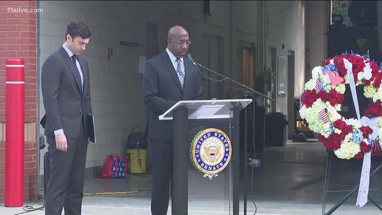 Senators Raphael Warnock, Jon Ossoff lay wreath to pay tribute to 9/11 victims