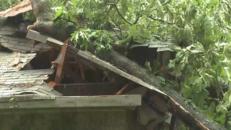 Tree Falls On South East Atlanta Home Causing Debris To Fall On Family