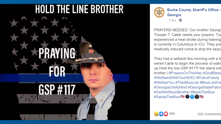 'We stand with you brother': Sheriff's office pens letter for GSP trooper hospitalized during training