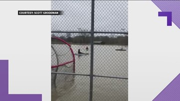 This Georgia baseball team practiced on a flooded field - in kayaks