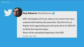 Ozzy Osbourne's Atlanta show postponed due to post-pneumonia injury