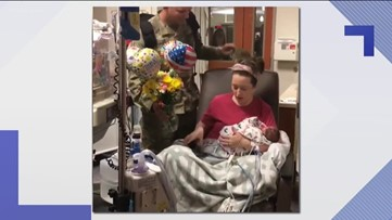 Soldier surprises wife in hospital after wife has c-section to deliver twins