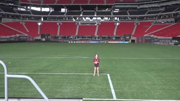Girl sings national anthem at Atlanta United game