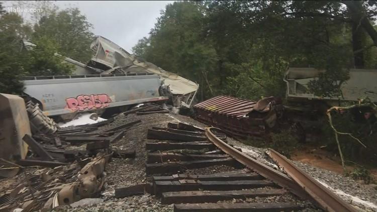 Washout derails train in Lilburn sparking fire, evacuations