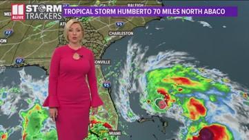 Tropical Storm Humberto is skirting the Bahamas
