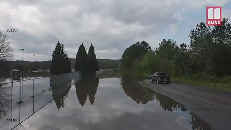 Drone video | Grizzard Park in Rome, Georgia flooded after powerful storms