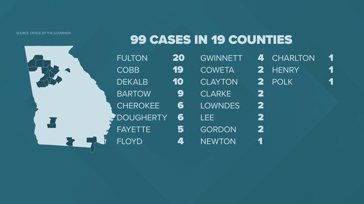 georgia counties w/ coronavirus - 15 Mar 2020