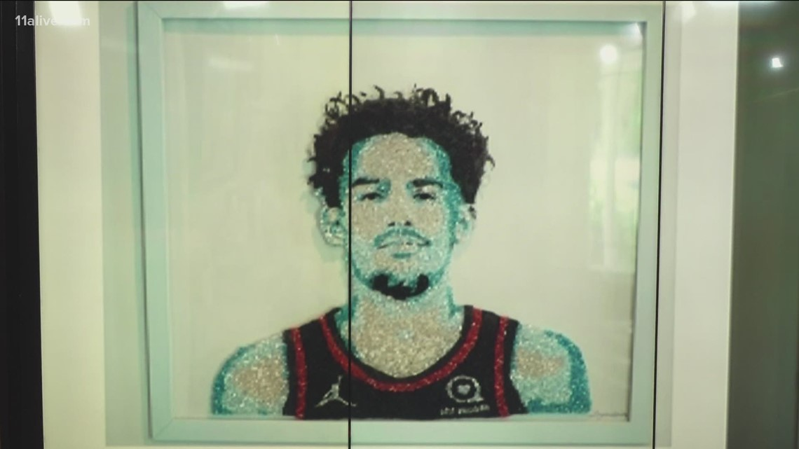 Art piece of Hawks star Trae Young made out of crushed glass