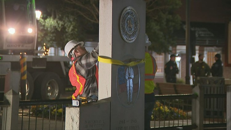 Lawrenceville Confederate monument comes down