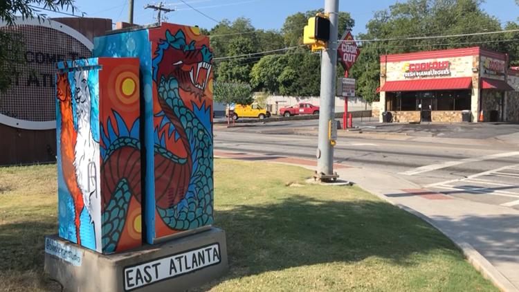 EAV Electric Box Mural by Sydney Compeau (Dragon+Llama)