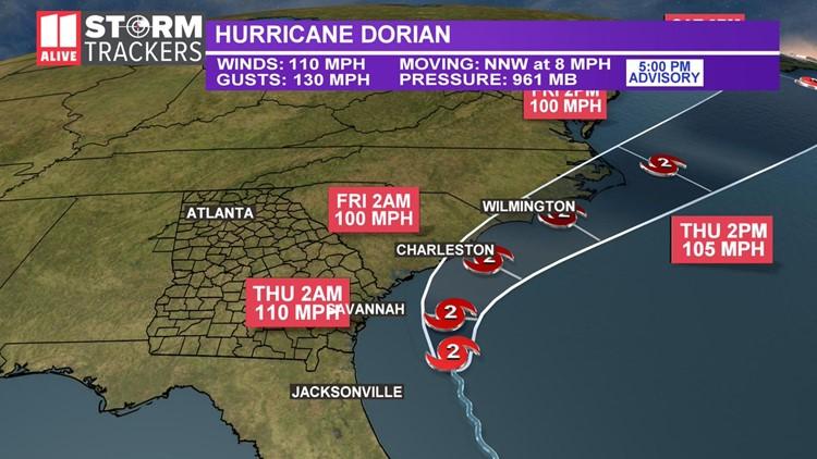 Dorian track 5 pm