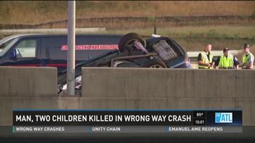 Man, two children killed in wrong way crash