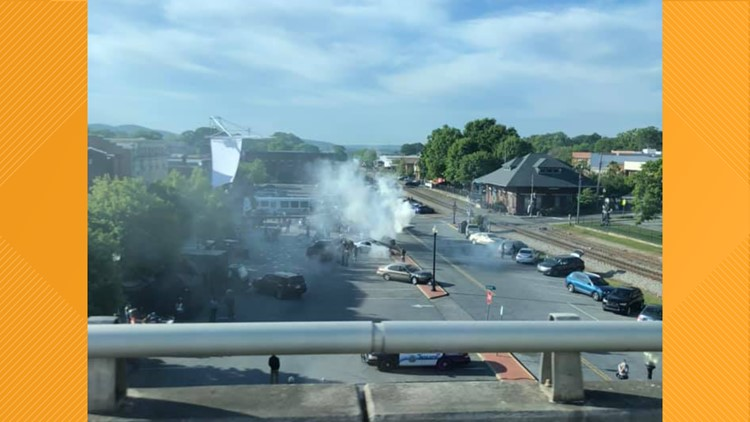 Action scene for upcoming CW 'Powerpuff Girls' series films in downtown Cartersville