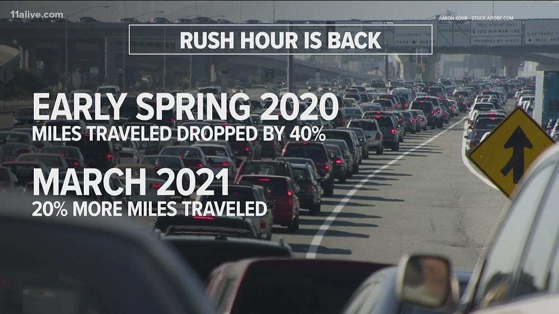 Study: Rush hour traffic is back