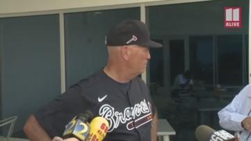 Atlanta Braves manager Brian Snitker speaks on first day of Spring Training