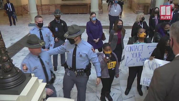 Democratic lawmakers protest Republican election bills at Georgia State Capitol