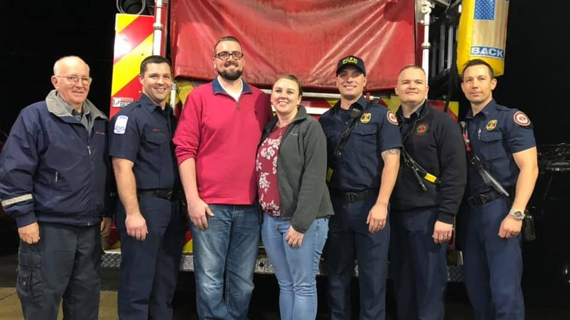 He didn't have a pulse when firefighters arrived. His fiancée's actions helped save his life.