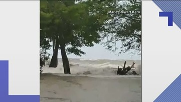 Barry causes four to five-foot waves on a lake north of New Orleans