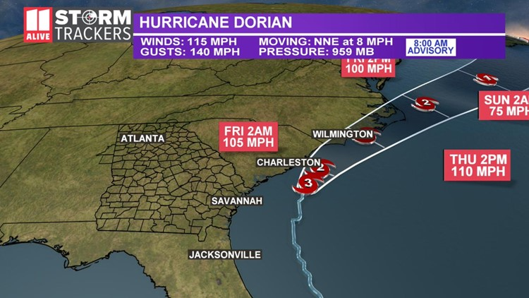 HURRICANE DORIAN TRACK THURSDAY 8AM