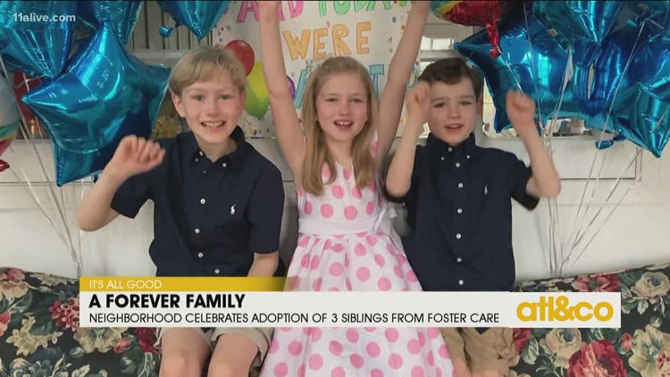 Neighborhood Celebrates Adoption of 3 Siblings from Foster Care