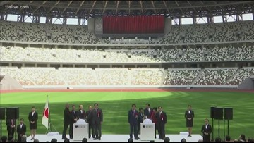 Officials give look at Tokyo Olympic Stadium