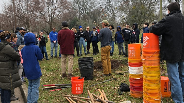 40+ volunteers showed up for Planting Day at East Point Historical Society