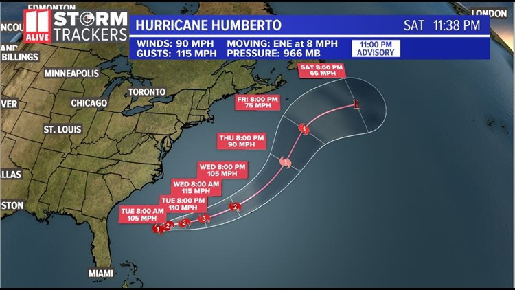 Humberto 11pm Monday advisory