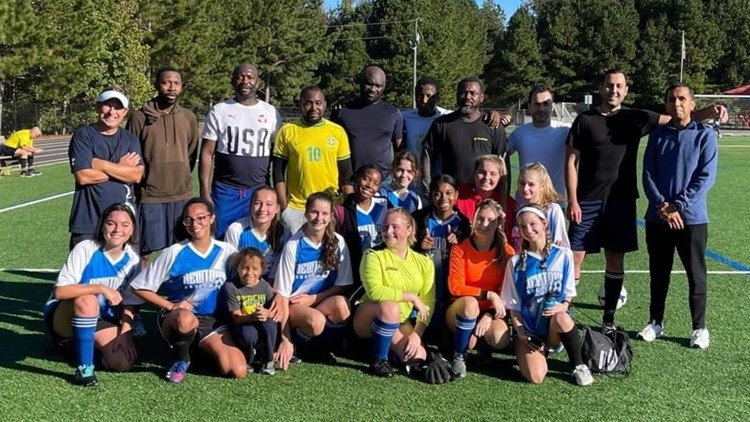 After their opponents didn't show, a girls soccer team challenged an unexpected group to a match