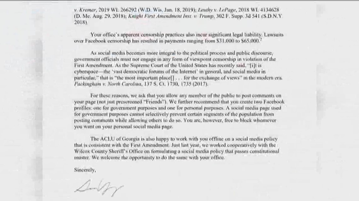 ACLU sends letter to Cobb Co  Sheriff claiming he's censoring constituents  on Facebook