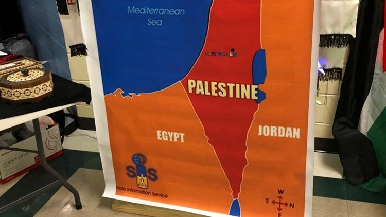 Map depicting Palestine instead of Israel