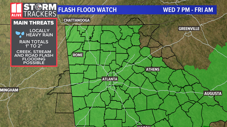 Flash flood watch issued for metro Atlanta canceled