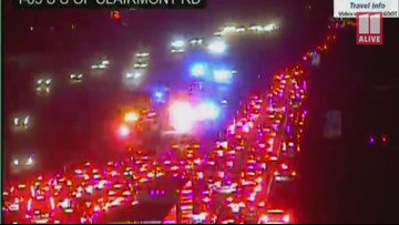 Bus, truck involved in multi-vehicle crash that blocked I-85 at North Druid Hills