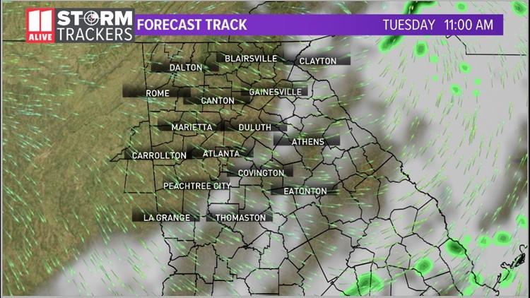 Forecast track 11am Tuesday